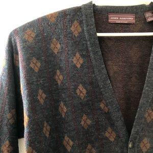 John Ashford dad plaid sweater wool blend XL